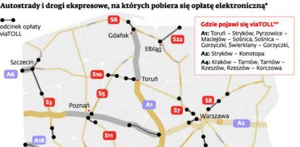 Autostrady i drogi ekspresowe, na których pobiera się opłatę elektroniczną