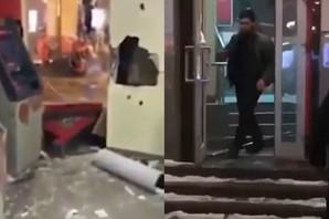 Bankomati, zidovi i vrata NISU IMALI ŠANSE: Pobesneli MMA borac potpuno DEMOLIRAO banku (VIDEO)