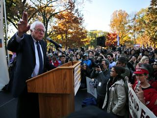 Former Democratic presidential candidate Senator Sanders speaks during a Capitol Hill rally in Washi