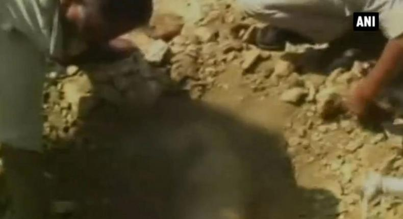 A man in India died after being buried alive by construction workers who failed to spot he had slipped into a pothole.