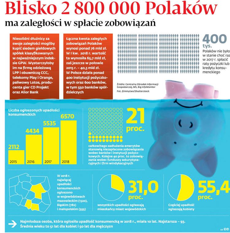 Blisko 2 800 000 Polaków ma zaległości w spłacie zobowiązań