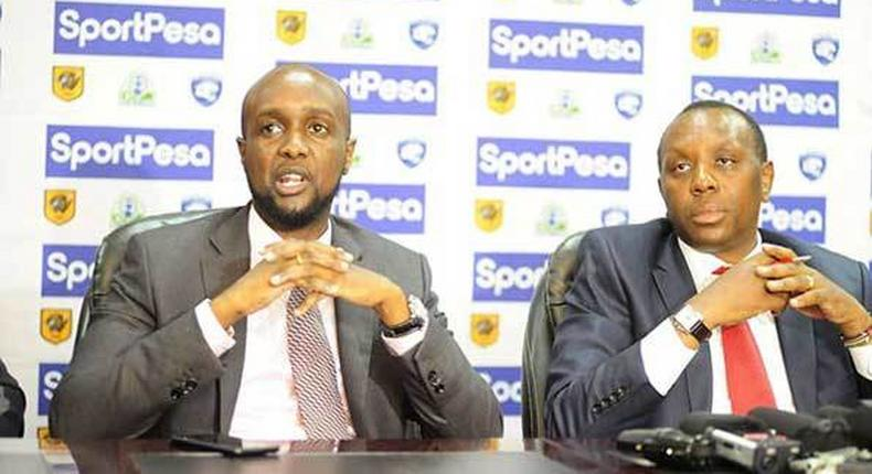 File image of SportPesa Chief Executive Officer Ronald Karauri (left) flanked by Kirimi Kaberia