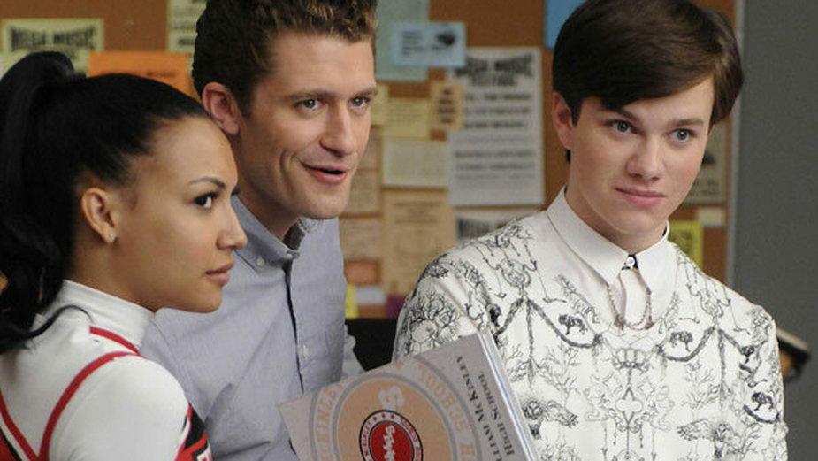 "Naya Rivera, Matthew Morrison i Chris Colfer w serialu ""Glee"""