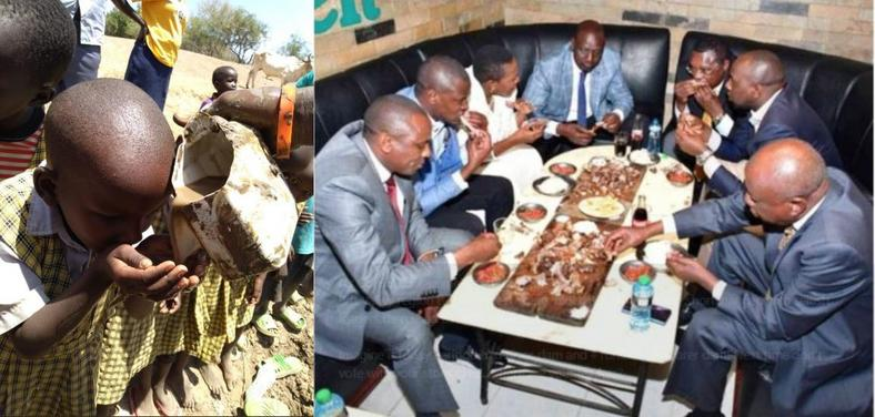 The viral photo of a school girl drinking muddy water and a section of Kenya's leaders enjoying a meal
