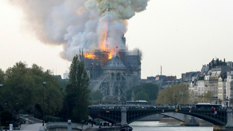 Fire struck Paris's landmark Notre-Dame Cathedral on Monday afternoon