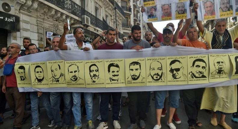Algerians demonstrate against the arrest of dozens of people by the authorities during anti-regime protests