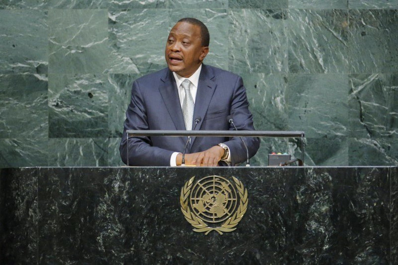 Kenya's President Uhuru Kenyatta addresses attendees during the 70th session of the United Nations General Assembly at the U.N. headquarters in New York September 28, 2015. REUTERS/Eduardo Munoz