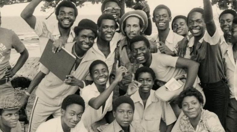 Bob Marley with music fans in Gabon.