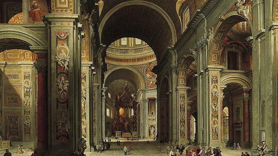 Widok wnętrza bazyliki Świętego Piotra (obraz Giovanni Paolo Panniniego)