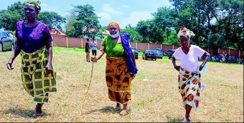 Elderly women heading home after casting their votes. (Punch)
