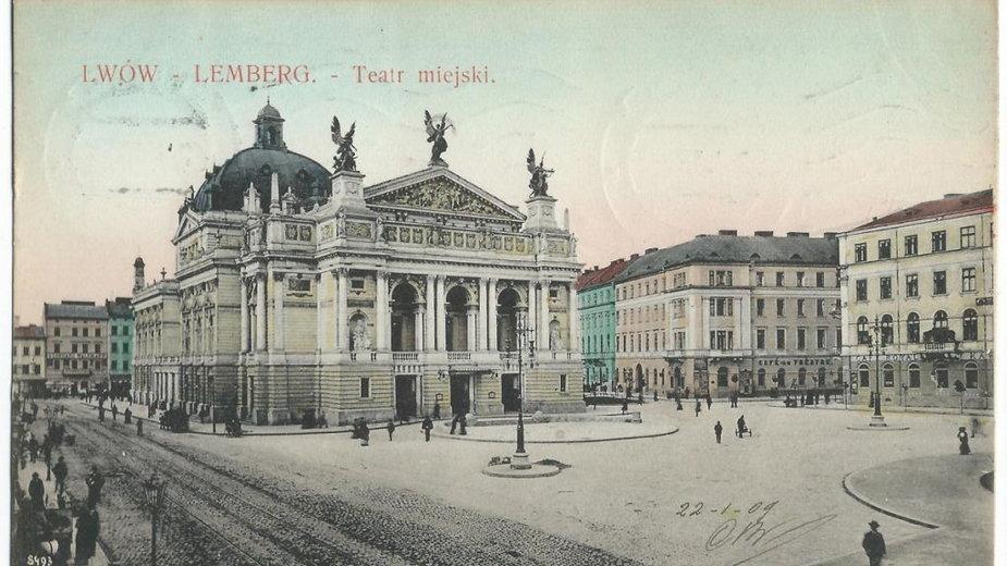 Teatr Wielki we Lwowie na pocztówce z początku XX wieku (domena publiczna)