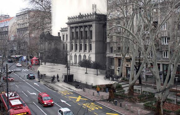 """Druga muška gimnazija - U novopodignutu zgradu u Poenkarevoj 29, današnjoj Makedonskoj ulici, 1910. su preselili Drugu mušku realnu gimnaziju. Zgrada je posle oštećenja koja je pretrpela u aprilskom bombardovanju srušena, škola je preseljena u zgradu Realke u Uzun Mirkovoj, a dvadesetak godina kasnije na tom mestu je sagrađena zgrada """"Politike"""". Na lokaciji bivše škole danas je i parking (kliknuti + za uvećanje)"""