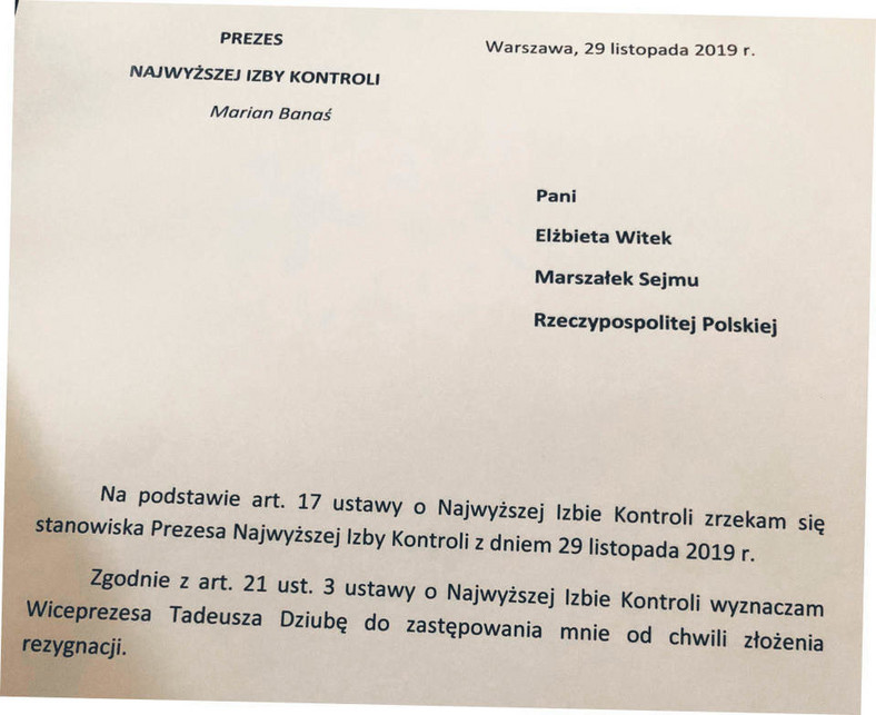 Projekt pisma rezygnacji przesłany do Mariana Banasia
