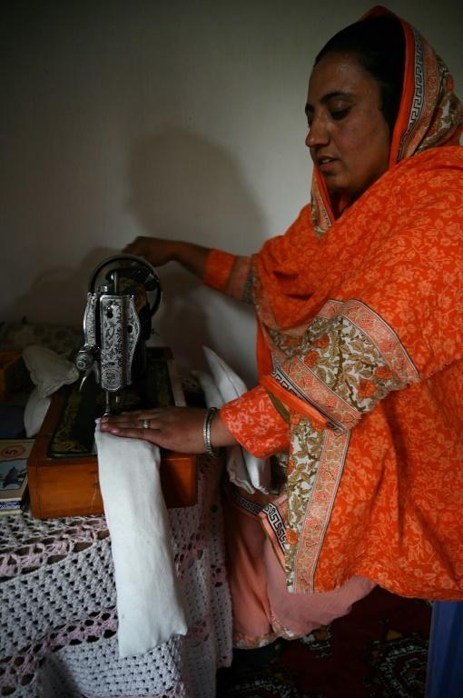 Hajra Bibi was given training to make the disposable sanitary pads, made of cotton, plastic, and cloth