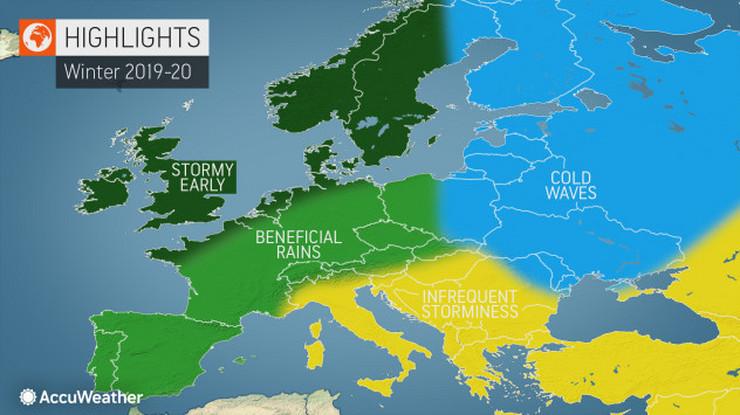 Vreme, zima, Evropa