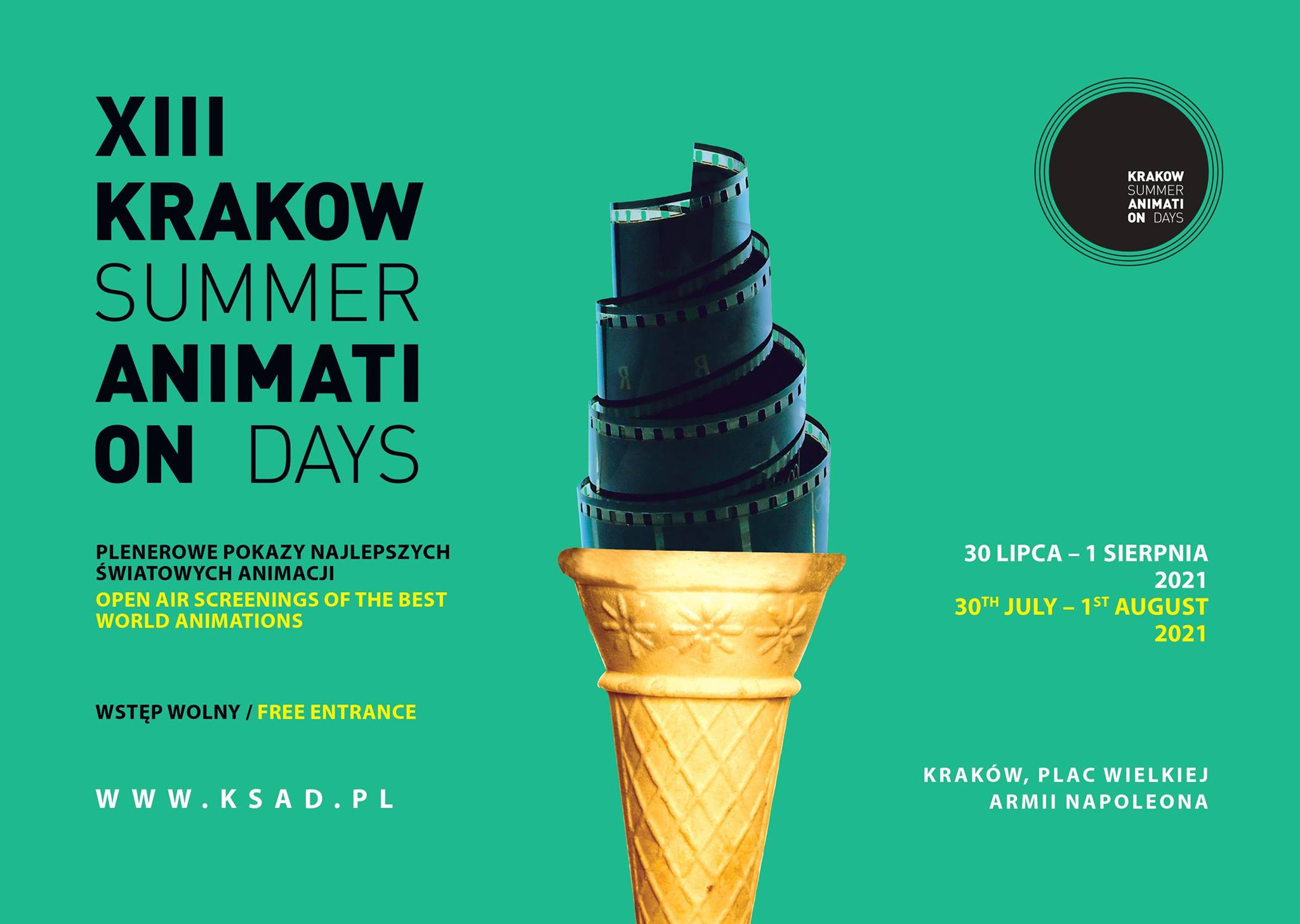 Plakat 13. edycji Krakow Summer Animation Days.