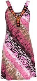 Bonprix Sukienka letnia fuksja wzorzysty
