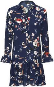 Bonprix Sukienka w kwiaty ciemnoniebieski wzorzysty