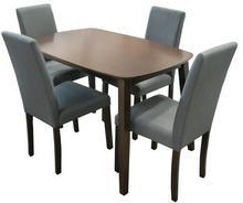 Lectus Zestaw stołowy Vadic stół + 4 krzesła ciemny brąz/ szary KS-SET-003