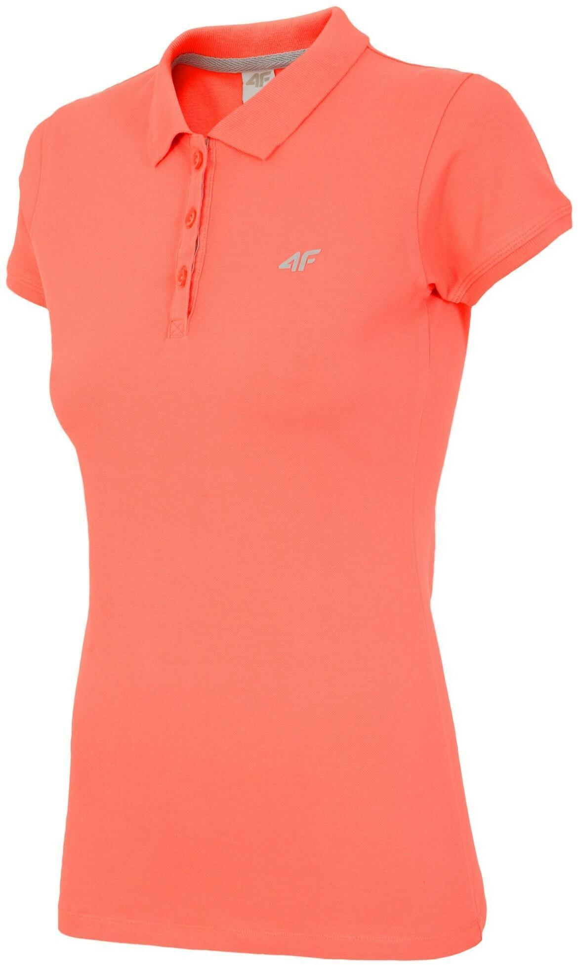 4F Koszulka polo damska TSD017 neon koral [H4L17-TSD017] TSD017 NEON KORAL