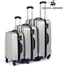 David Jones Elegancki zestaw walizek podróżnych srebrny)