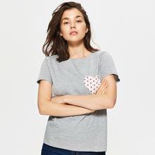 Cropp Cropp - Koszulka z sercem - Jasny szary