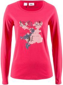 Bonprix Shirt, długi rękaw różowy hibiskus z nadrukiem