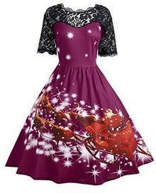 060360624c CharMma charmma damskie Vintage bardzo duży rozmiar Boże Narodzenie grotów  rękawami impreza sukienka z krótkim rękawem