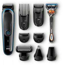 Braun MultiGroomer 9-in-1trymer do brody MGK3080, maszynka do golenia, trymer, bodygroomer z technologią Gillette Flex ball, czarny/niebieski