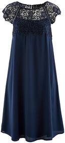 Bonprix Sukienka szyfonowa z koronką ciemnoniebieski