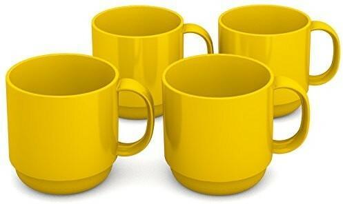 Piknik Ornamin 220 ML Żółty,-częściowy zestaw | wysokiej jakości, stabilny kubek do kawy z tworzywa sztucznego z uchem | | chropowaty wyżywienie w życiu codziennym naczynia dla dzieci, kemping, we ws 508