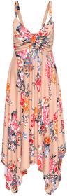 Bonprix Must have: sukienka z dżerseju z asymetrycznym dołem dymny różowy w kwiaty