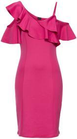 Bonprix Sukienka neoprenowa z falbanami ciemnoróżowy