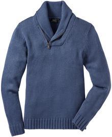 Bonprix Sweter z szalowym kołnierzem, Regular Fit niebieski indygo