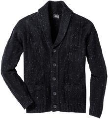 Sweter rozpinany z szalowym kołnierzem i efektowną przędzą Regular Fit bonprix ciemnoantracytowy