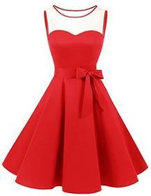 Bridesmay Brides may XX sukienka bez rękawów Vintage Retro okrągłe wycięcie pod szyją fałd Rockabilly Rock suknia wieczorowa, kolor: czerwony , rozmiar: xxl B075MCL96C