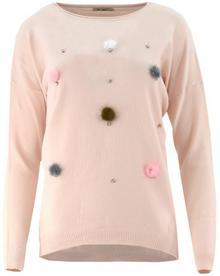Sweter z kolorowymi pomponami (pudrowy róż) : Rozmiar - XXL/XXXL