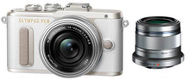 OlympusPen E-PL8 +14-42 EZ + 45 mm biały