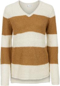 Bonprix Sweter z metaliczną nitką naturalno-kawa lodowa w paski