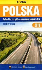 Kompas Polska. Najbardziej szczegółowa mapa samochodowa Polski 2018, 1:700 000 praca zbiorowa