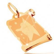 Biżuteria e-shop Złota zawieszka 585 - pergamin ze znakiem zodiaku STRZELEC