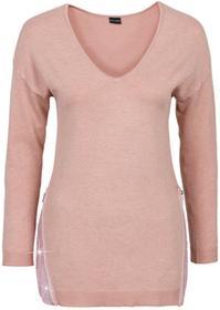 Bonprix Sweter z aplikacją z cekinów stary jasnoróżowy melanż