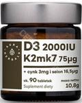 AURA HERBALS Witamina D3 (2000IU) + K2mk7 (75mcg) + Cynk + Selen - tabletki 10,8g (90 tabl.) 21AURWISDK