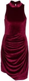 Bonprix Asymetryczna sukienka aksamitna bordowy