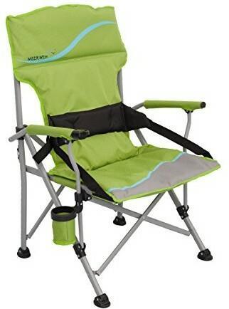 Meerweh Krzesło składane odczuwasz ból Deluxe XXL z uchwytem na napoje morskiej i otwieracz do butelek Relax krzesło krzesło kempingowe krzesło kempingowe Zielony/szary 20015