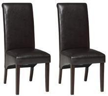 Forte Krzesła Magos ekoskóra komplet 2 szt. ciemny brąz/wenge