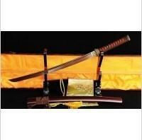 Kuźnia mieczy samurajskich MIECZ SAMURAJSKI WAKIZASHI DO TRENINGU, STAL WYSOKOWĘGLOWA 1095 WARSTWOWANA CZERWONA DAMASCEŃSKA, R322