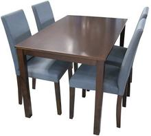 Lectus Zestaw stołowy Sorento stół + 4 krzesła ciemny brąz/ szary KS-SET-001