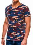 Ombre Clothing T-shirt męski z nadrukiem S1050 - niebieski/moro
