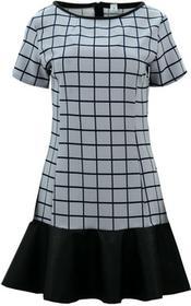 Sukienka z falbaną z ekoskóry (szara kratka) : Rozmiar - XL